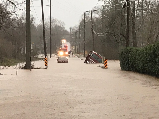 KFD Engine 11 fell victim to Flooded roadway | Photo Knoxville Fire Department