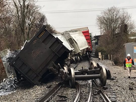 Train Derailment at near Sutherland Avenue and Concord Street. | Photo Knoxville Fire Department