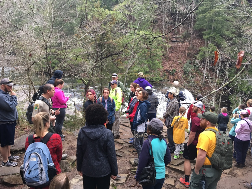 This group gathered for the Spring Hike at Fall Creek Falls State Park in 2017. | Photo Credit: TN State Parks