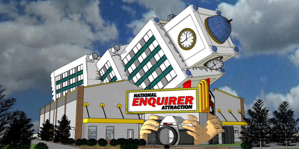 National Enquirer Attraction coming to Pigeon Forge - The 17,760 square foot building would have visitors entering through a camera lens. The building also features what looks like another building that's fallen on top of it.