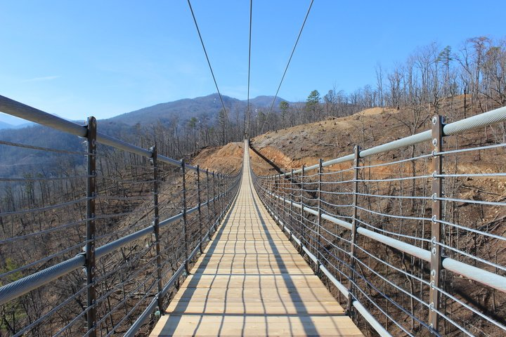 The SkyBridge will be the longest pedestrian suspension bridge in North America, and the most spectacular and awe-inspiring experience in the Smokies. This SkyBridge will be opening this Spring.