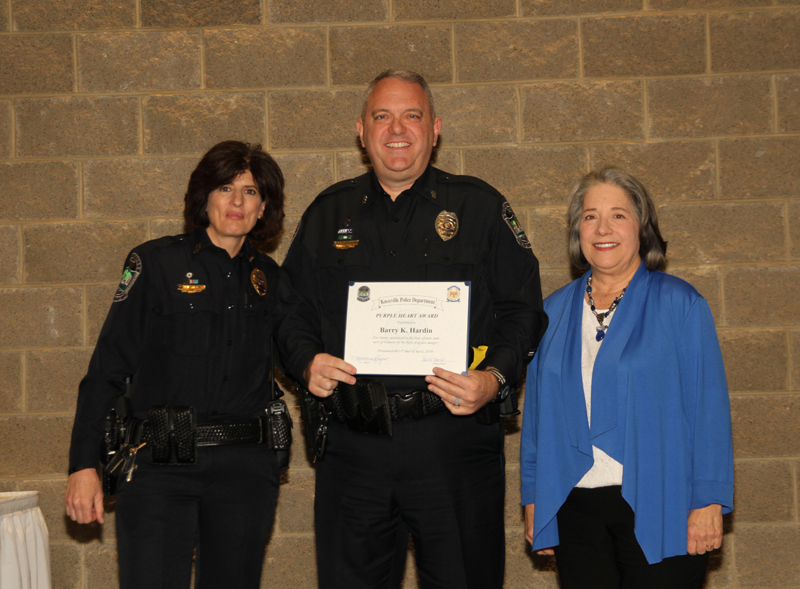 Officer Barry (B.K.) Hardin was named the Purple Heart recipient at the Knoxville Police Department's Recognition Luncheon on Monday, April 1, 2019.